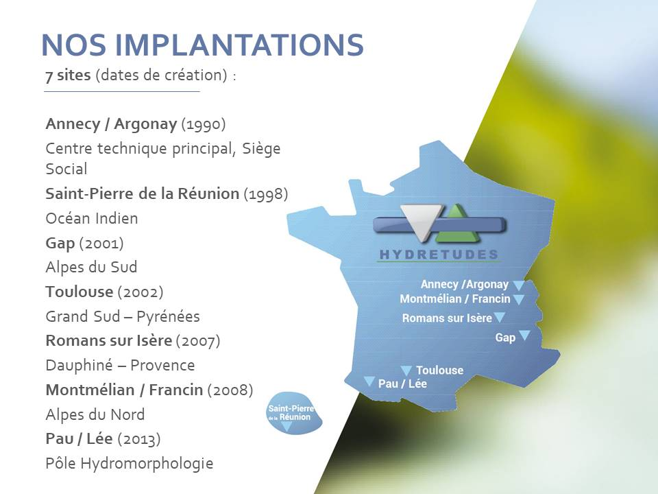 Carte d'implementation d'HYDRETUDES